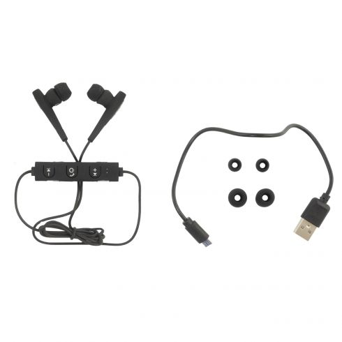 Coby: Rechargeable Wireless BLACK Bluetooth Earbuds (w/Built-in Mic, Remote, Tangle Free Flat Cable)