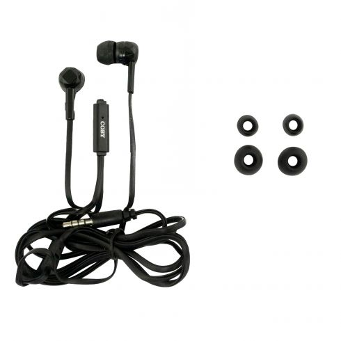 Coby: Tangle Free BLACK Stereo Earbuds (w/Built-in Mic & Remote) 4 Ft Cable Lngth w/3.5mm Connection