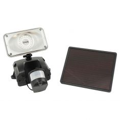 Solar Powered BLACK Plastic Bodied Security Video Camera w/Floodlight (16 GB Micro SD Card Included)