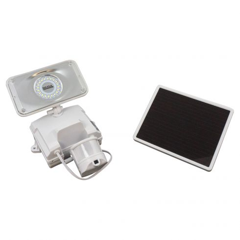Solar Powered WHITE Plastic Bodied Security Video Camera w/Floodlight (16 GB Micro SD Card Included)