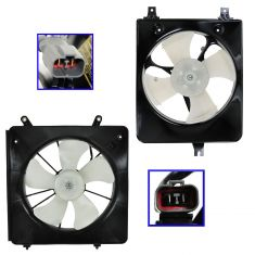 98-02 Honda Accord Denso Style Radiator & AC Cooling Fan Assembly for L4 2.3L PAIR