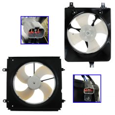 98-02 Honda Accord Valeo Style Radiator & AC Cooling Fan Assembly for L4 2.3L PAIR