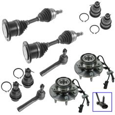99-07 GM Full Size Pickup SUV Hub, Axle, Ball Joints, & Outer Tie Rod Kit (Set of 10)