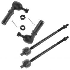 96-00 Dodge Chrysler Plymouth Minivan Front Inner & Outer Tie Rod End Set of 4