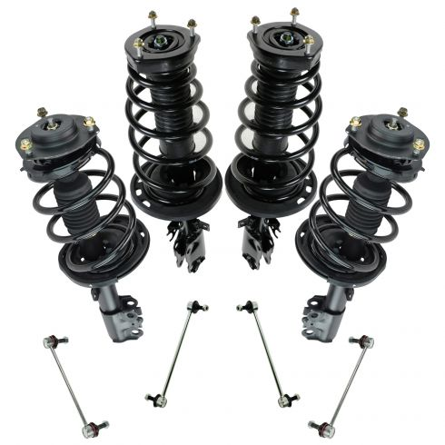 07-11 Toyota Camry Front & Rear Strut & Spring Assemblies w/ Sway Bar Links (8pc
