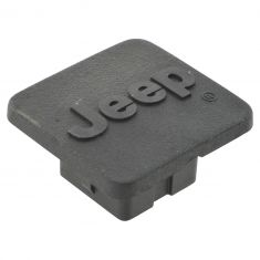 Jeep Multifit w/Class 1 Hitch Raised ~Jeep~ Logoed Black Receiver Plug Cover (Mopar)