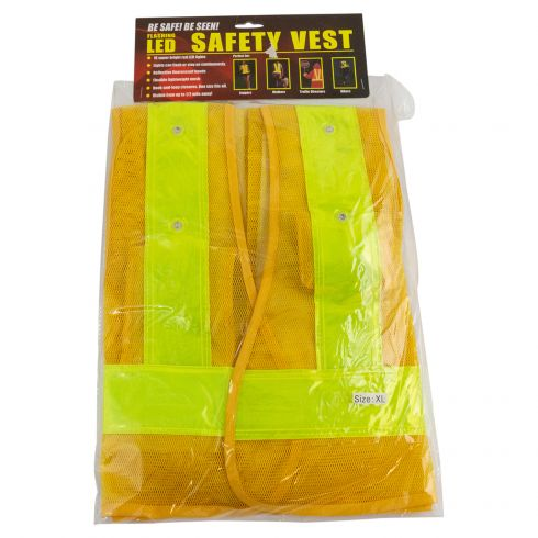 Reflective Safety Vest w/16 LED Lights (Requires Two AA Batteries Not Included) (Xtra Large)