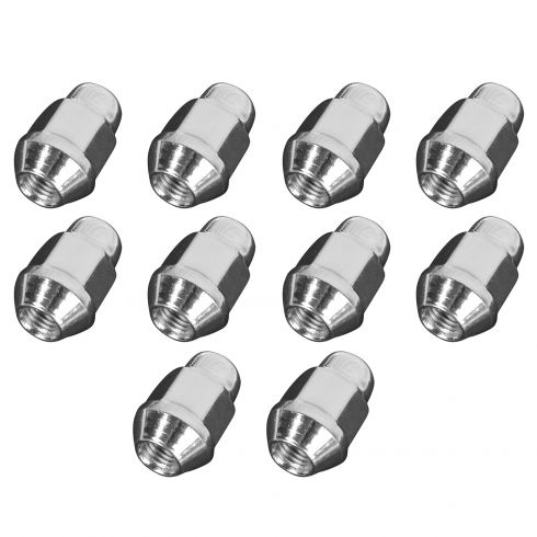 68-12 Acura, BMW, GM, Ford, Chrys, Plus (M12-1.5 x 35.1mm) Bulge Seat Chrome Acorn Nut (Box of 10)