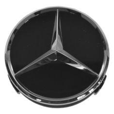 90-15 Mercedes Benz C CL CLA CLS E G ML GL GLK S SL SLK Class Raised Chrome/Black Center Cap (MB)