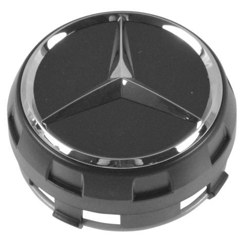 90-15 Mercedes Bz C CL CLA CLS E G ML GL GLK S SL SLK Class Raised Chrme/Matte Black Center Cap (MB)