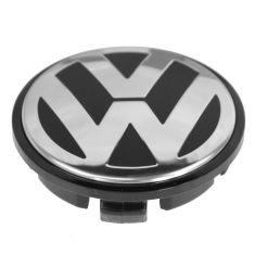 01-14 Volkswagen Multifit (w/17 or 18 Inch Aluminum Wheel) Black & Chrome Center Cap (VW)