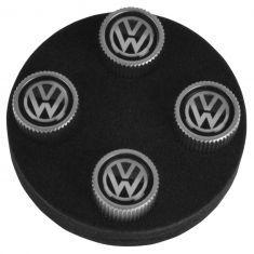 Volkswagen Multifit Black on Silver ~VW~ Logoed Valve Stem Cap (Set Of 4) (Volkswagen)