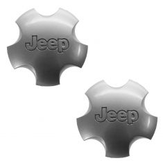01-04 Jeep Grand Cherokee (w/Wheel Code WFK) Domed 5 Inch Silver Center Cap PAIR (Mopar)