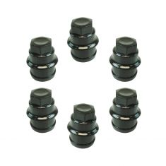 00 Escalade; 99-14Chevy, GMCFS PU,SUV, Astrovan Multifit (M27-2.0 x 22mm) Black Lug Nut Cap Box of 6