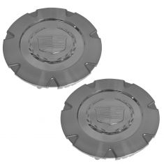 07-14 Cadillac Escalade, ESV, EXT (w/18 In Wheel) Chrome ~Cadillac~ Logo Center Cap Pair (GM)