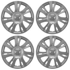 11-14 Mazda 2 (7 Spoke) ~Mazda~ Logoed Silver & Chrome Hubcap Wheel Cover Set of 4(Mazda)