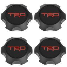 10-14 4Rner; 95-14 Tcma w/4WD; 07-14 FJ Crser (17 x 7in) TRD Blk Alm Whl Cntr Cap Set of 4 (Toyota)