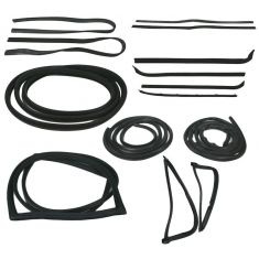 1973-77 Ford F-Series Pickup Complete Weatherstrip Kit for Trucks WITH Chrome Window Trim