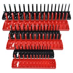 SAE & Metric Socket Tray 6 Peice Set Red & Black 1/2 3/8 1/4