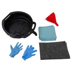 Funnel King: Deluxe Oil Chng Kit (1- 4 Gal Pan, 6 Qt Fnl, 2 Gloves, 15x18in Srbnt Pad, 8 Shp Twls)