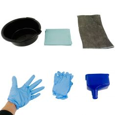 Funnel King: Economy Oil Chg Kit (1- 6.5 Qt Pan, 1-Fnl, 2 Gloves, 15x 18in Srbnt Pad, 4 Shop Towels)