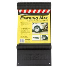 Park Right: Plastic Parking Mat w/Reflective tape & Built in Drip Tray (Black)