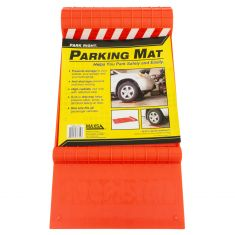 Park Right: Plastic Parking Mat w/Reflective tape & Built in Drip Tray (Red)