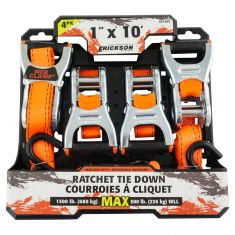 ERICKSON: (1 In x 10 Ft - 1500 LB Rating) Ratcheting ORANGE Strap Tie-Down w/Web Clamp Design (4 Pk)