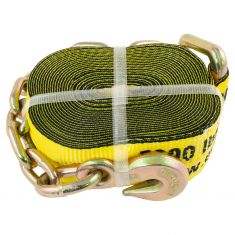 ERICKSON: (3 In x 30Ft - 15,000 LB Rating) YELLOW Winch Strap w/Chain & Hook Lead