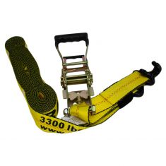 ERICKSON: (2 In x 27 Ft - 10,000 LB Rtg) Long Rubber Handle Ratcheting Yllw Tie Down/Strap w/J hooks