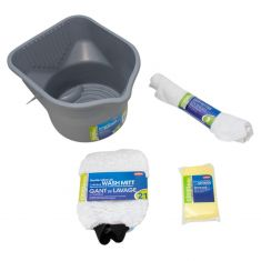 Carrand: 6 Pce Car Wash Bucket Kit (3 Gallon Bucket, Bug Sponge, Wash Mitt, 3 pack Terry Towels)