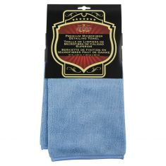 Premium Plush Piped Edge Blue Microfiber Towel (16 In X 24 In)