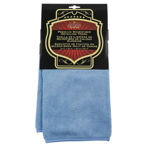 Premium Plush Piped Edge Blue Microfiber Towel (16 In X 24 In)