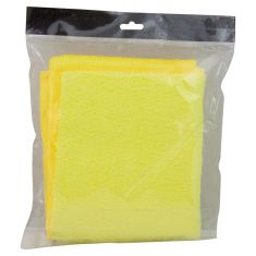 Duo-Sided Yellow Plush Microfiber Towel (12 In x 14 In) (3 Pack)