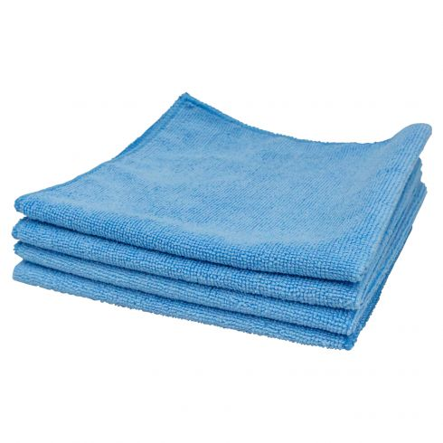 Professional Blue Microfiber Terry Towel (16 In x 16 In) (4 Pack)