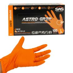 ASTRO-GRIP: Pwdr-Free, Embossed Grip Txt HI VIZ ORANGE Nitrile, NON LATEX 7 MIL Gloves (100/BOX) (L)