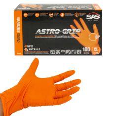 ASTRO-GRIP: Pwdr-Free, Embossed Grip Txt HI VIZ ORANGE Nitrile, NON LATEX 7 MIL Gloves (100/BX) (XL)