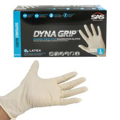 DYNA GRIP: Powder Free, Exam Grade, Fully Textured LATEX 7 MIL Gloves (100/BOX) (LARGE)