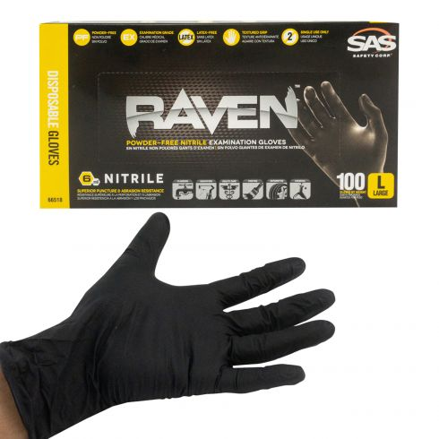 RAVEN: Powder-Free, Exam Grade, Fully Textued BLACK Nitrile NON LATEX 6 MIL Gloves (100/BOX) (L)