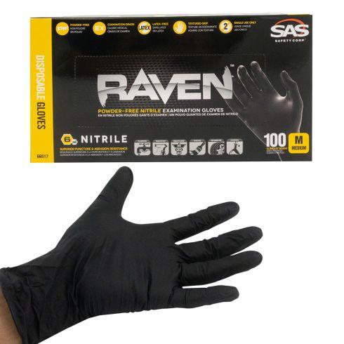 RAVEN: Powder-Free, Exam Grade, Fully Textued BLACK Nitrile NON LATEX 6 MIL Gloves (100/BOX) (M)