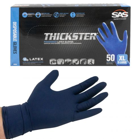 THICKSTER: Lightly Powdered, Exam Grade, BLUE LATEX 14 MIL Gloves (50/BOX) (XLARGE)