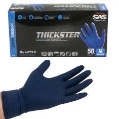 THICKSTER: Lightly Powdered, Exam Grade, BLUE LATEX 14 MIL Gloves (50/BOX) (MEDIUM)