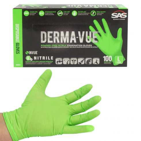 DERMA-VUE: Powder-Free, Fully Textured HI VIZ GREEN Nitrile, NON LATEX 6 MIL Gloves (100/BOX) (LRG)