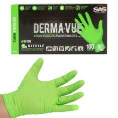 DERMA-VUE: Powder-Free, Fully Textured HI VIZ GREEN Nitrile, NON LATEX 6 MIL Gloves (100/BOX) (XLRG)