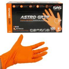 ASTRO-GRIP: Pwdr-Free, Embossed Grip Txt HI VIZ ORANGE Nitrile, NON LATEX 7 MIL Gloves (100/BOX) (M)