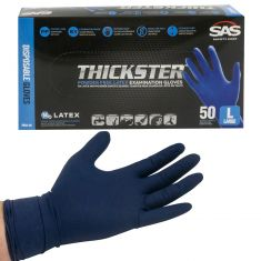 THICKSTER: Powder Free, Exam Grade, BLUE LATEX 14 MIL Gloves (50/BOX) (LARGE)