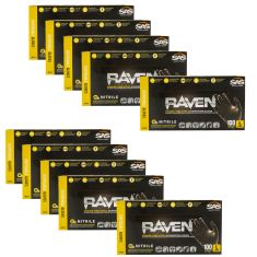 RAVEN: Powder-Free, Exam Grade, Fully Textued BLACK Nitrile NON LATEX 6 MIL Gloves 10 Box Kit (L)