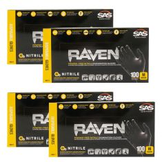 RAVEN: Powder-Free, Exam Grade, Fully Textued BLACK Nitrile NON LATEX 6 MIL Gloves 4 Box Kit (M)