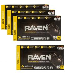 RAVEN: Powder-Free, Exam Grade, Fully Textued BLACK Nitrile NON LATEX 6 MIL Gloves 4 Box Kit (XL)