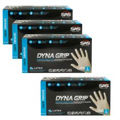 DYNA GRIP: Powder Free, Exam Grade, Fully Textured LATEX 7 MIL Gloves 4 Box Kit (LARGE)